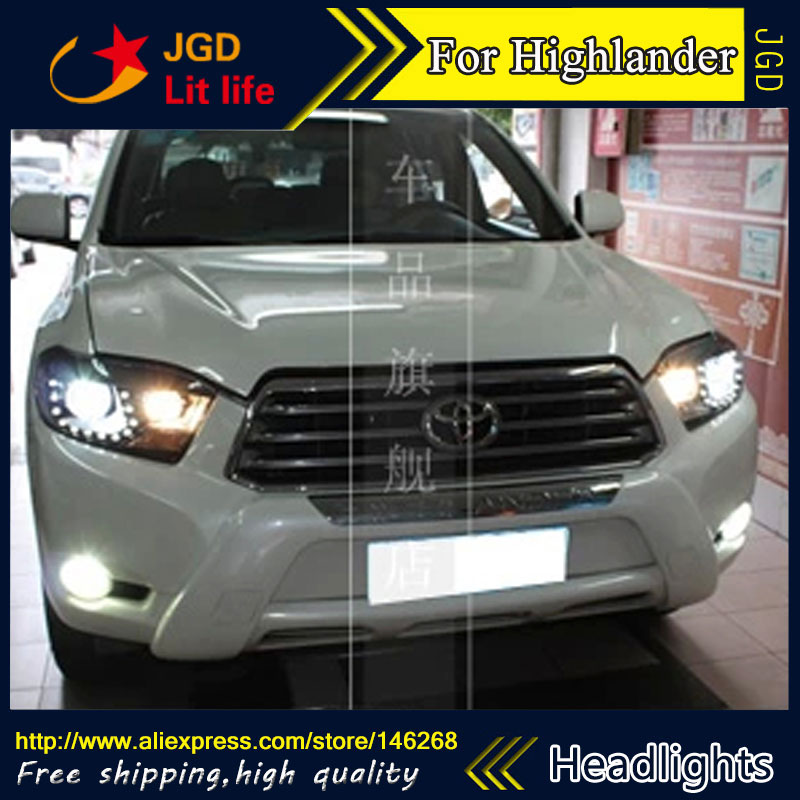 Free shipping ! Car styling LED HID Rio LED headlights Head Lamp case for Toyota Highlander 2009-2011 Bi-Xenon Lens low beam lepin 22001 pirate ship imperial warships model building block briks toys gift 1717pcs compatible legoed 10210