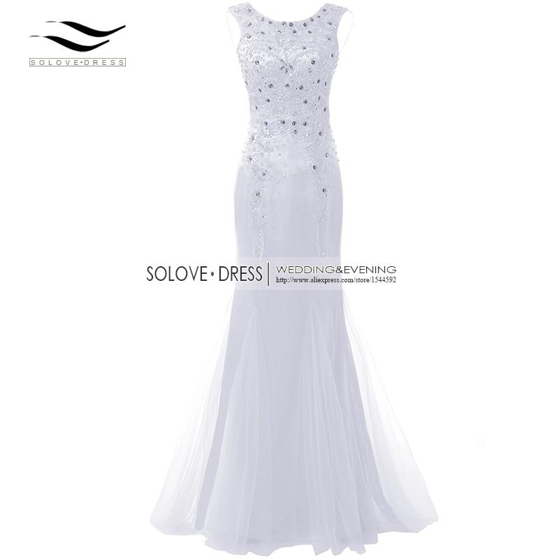 Элегантная ткань Накладка для кнопки рукав Кристалл бисером длинное платье выпускного вечера тюль русалка платье выпускного вечера Longo Vestido de festa(SLP-011 - Цвет: White