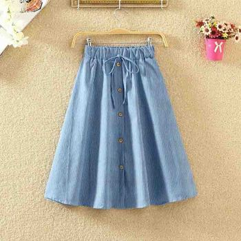 ROPALIA Vintage Retro High Waist Pleated Midi Skirt Fashion Women Skirt Denim Single Breasted Skirt 6