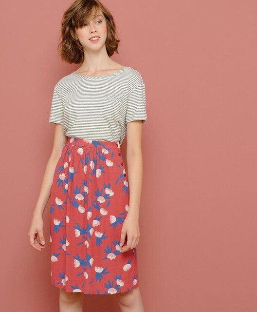 Falda de cintura alta con Estampado de cereza de color rosa para mujer