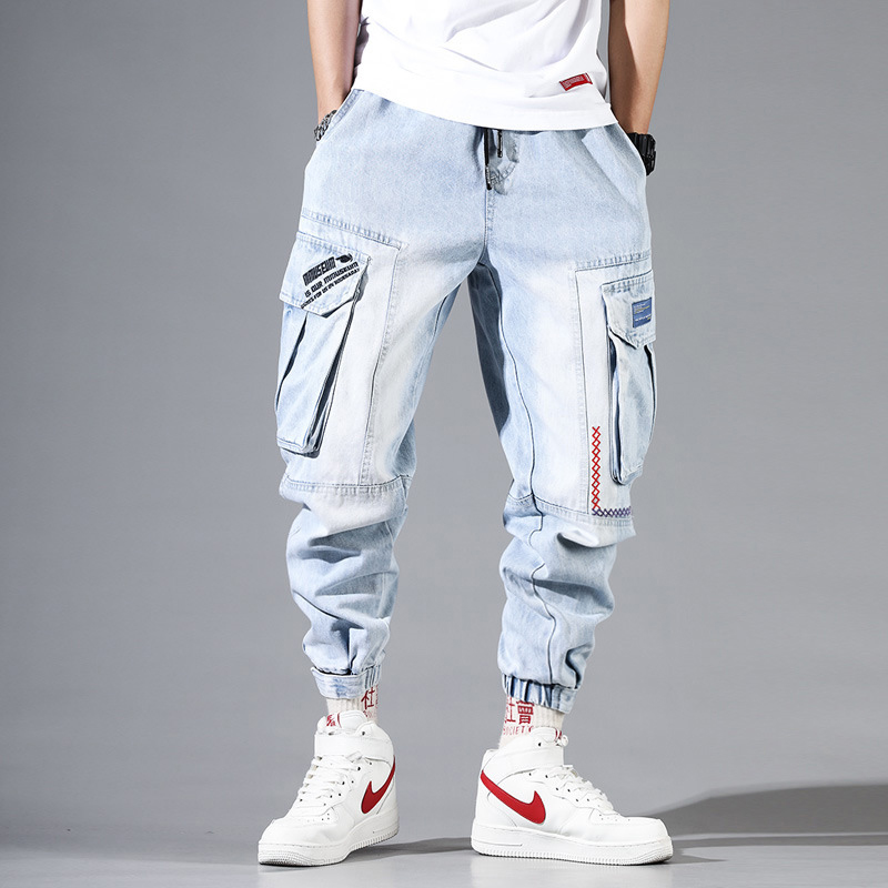 Fashion Streetwear Men Jeans Light Blue Loose Fit Multi Pockets Cargo Pants Harem Jeans Men Embroidery Designer Hip Hop Joggers