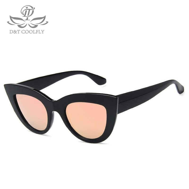 3ac25abbf ... D&T New Sunglasses Women Cat Eye Tinted Color Lens Vintage Shaped Sun  Glasses Brand Designer Mirror ...