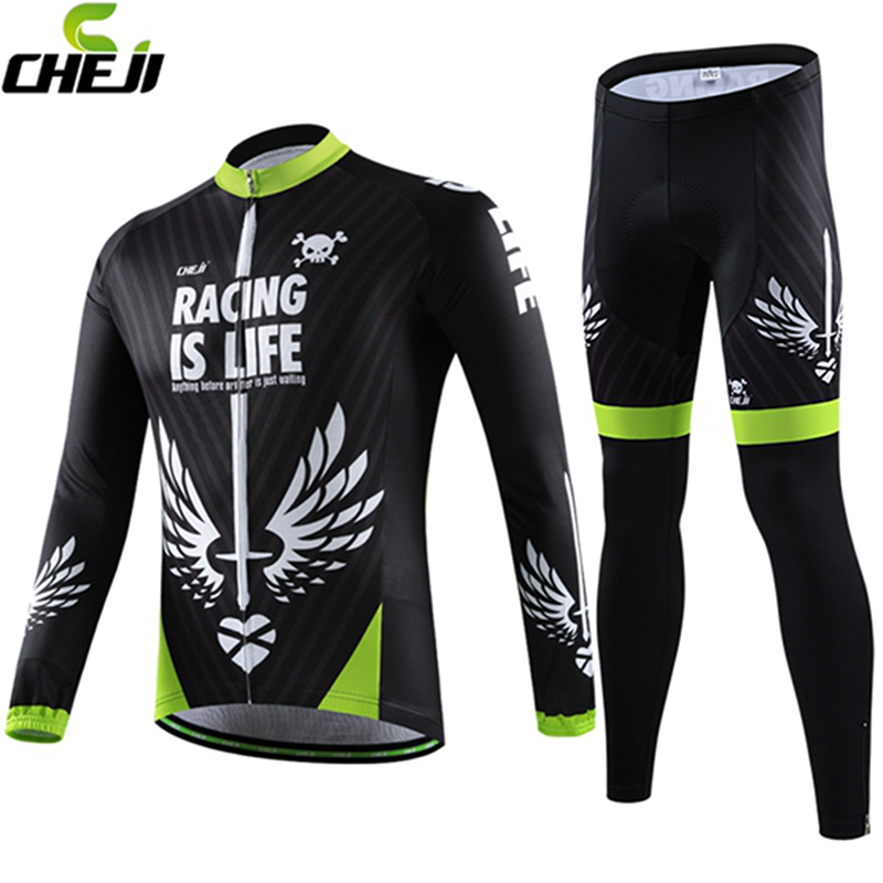 Cheji Mens Long sleeve winter Bicycle Clothing Cycling Jersey sets breathable Quick-Dry autumn male cycling bike wear 2015 New cheji women mtb cycling jersey sets bike outdoor sportswear maillot clothing quick dry cycling clothing long sleeve jersey