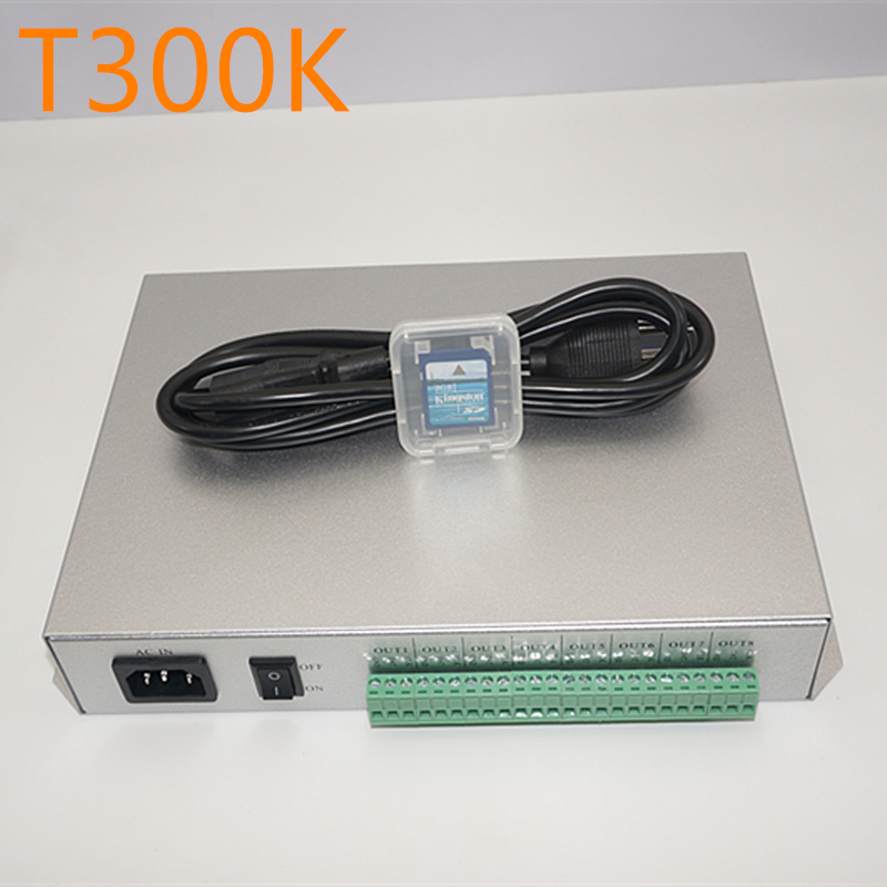 T300K SD Card on-line TRAMITE PC T-controller 8 porte 8192 pixel ws2811 ws2801 ws2812b 1903 6812 RGB di colore Completo ha condotto il modulo pixel