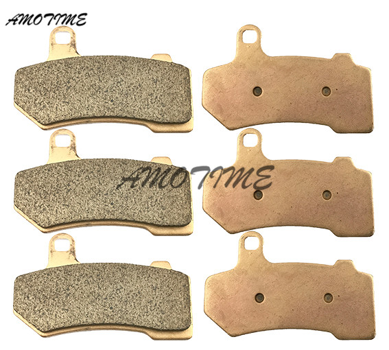 Motorcycle Parts Copper Based Sintered Motor Front & Rear Brake Pads For V-Rod 2006 VRSCR Street Rod 2006-2007