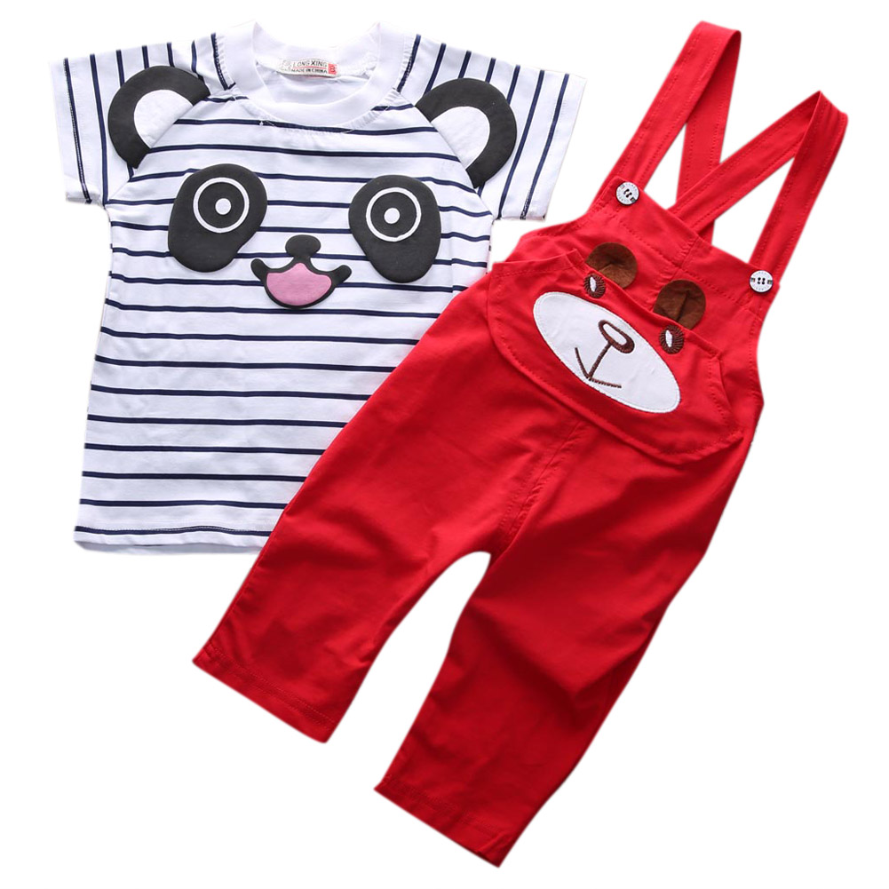 Newborn Baby Boy Summer Clothes T-shirt+Bib Pants Overalls Outfits Summer 2pcs Set