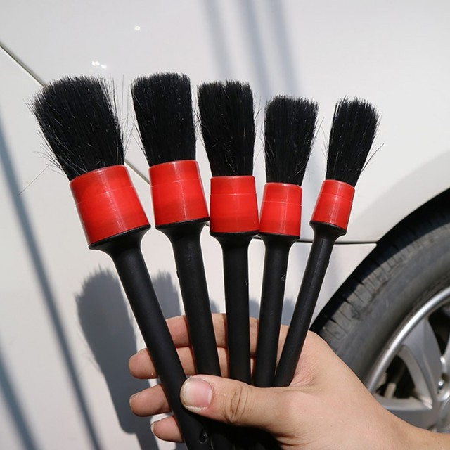 5Pcs Natural Boar Hair Cleaning Brush Auto Detailing Brush Set Car Cleaning Brushes New
