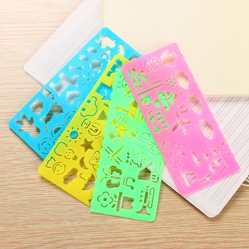 4PCS Cute Art Graphics Symbols Drawing Template Stationery Candy Color  Ruler Student Kids Drafting Stencil Ruler Stationery