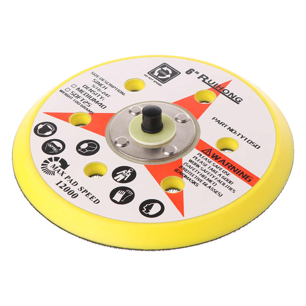 "6 Inch 6 Holes Backup Sanding Pad Sanding Disc Backing Pad 5/16""-24 Thread Hook and Loop Abrasive Tools Grinder Accessories"