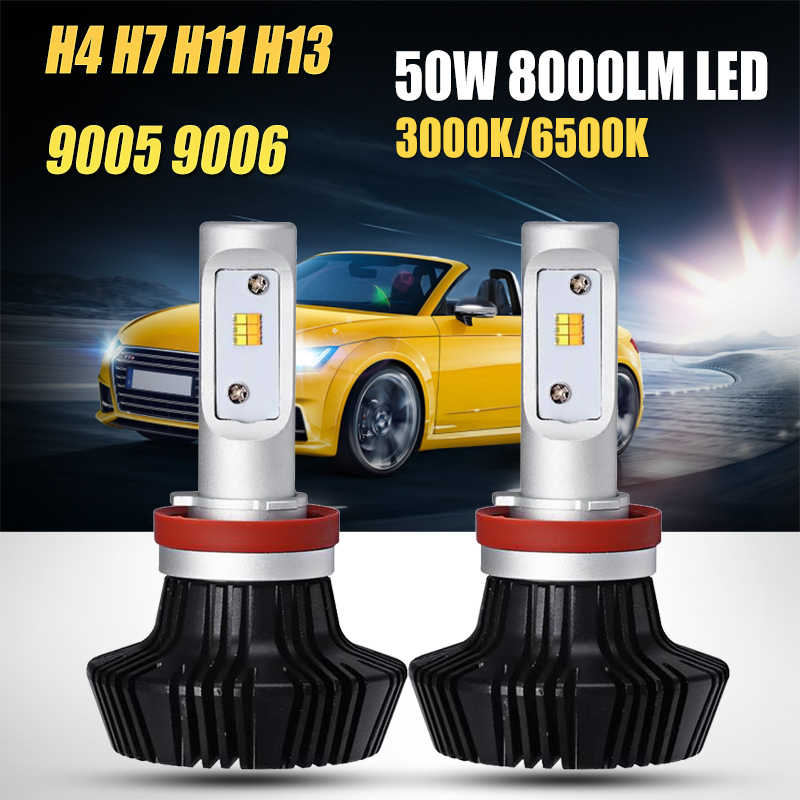 Oslamp H4 H13 Hi-Lo Beam H7 H11 9005 9006 Single Beam 50W LED Car Headlight Bulb Fog Light Lamps Yellow White Light 3000K 6500K
