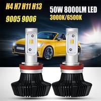Oslamp H4 H13 Hi Lo Beam H7 H11 9005 9006 Single Beam 50W LED Car Headlight