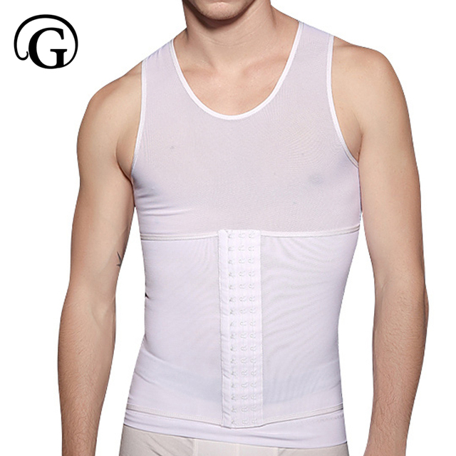 5d5b586c2c3af Men Gynecomastia Compression Shirt to Hide Moobs Undershirt Hook Control  Tummy tank Tops Stomach Slimvest Shapers