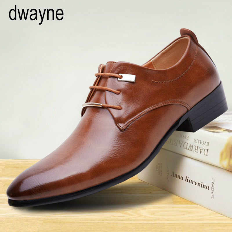 Fashion Men's Formal Business Shoes High Quality Pointed Dress Shoes Big Size Oxfords Leather Men Shoes tyh789 image