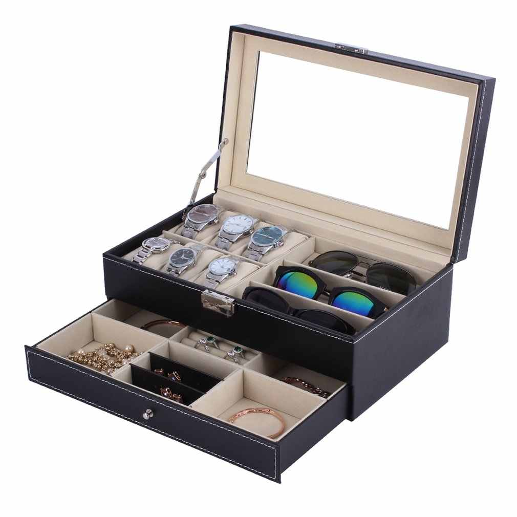 PU Leather Watch Jewlery Box Double Layers 6+3 Grids Watch Glassess Holder Rings Bracelet Storage Jewelry Display Casket