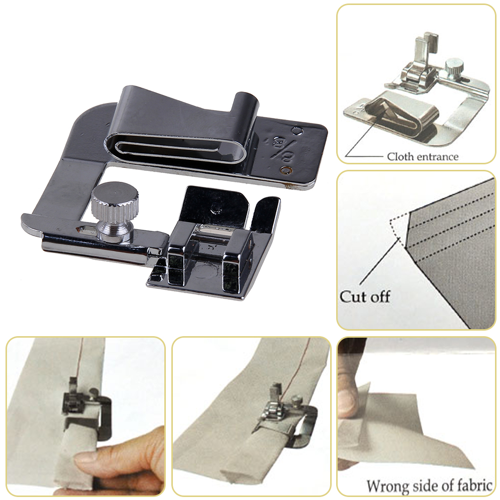 3Pcs Domestic Hemming Cloth Strip Presser Foot Sewing Machine Parts Hemmer Foot Rolled Hem Foot for Singer Brother
