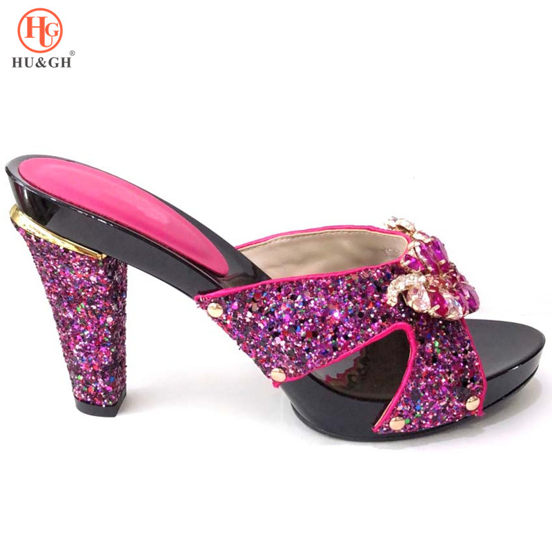 Fuchsia couleur chaussures de mariage africaines Sexy dames sandales chaussures soirée talons chaussures décorées de strass chaussures nigérianes