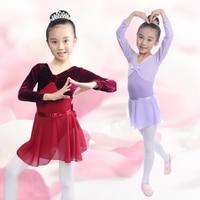 100-150 سنتيمتر 7 ألوان الوردي الأرجواني الأزرق مدرسة الرقص الباليه اللباس ملابس فتاة يوتار + تنورة طويلة الأكمام ازياء الرقص
