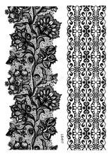 Waterproof Body Art tattoo sticker for women black flowers bracelet wedding Jewelry lace flower flash tattoo wholesale LS-617