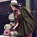 2017 original marca robe plus size primavera fino cintura alta elegante ocasional exército verde mini dress mulheres por atacado