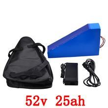 52 в 2000 Вт треугольная батарея 52 в 25ah литиевая батарея 52 в 25AH электрическая велосипедная батарея с 50A BMS и 58,8 в зарядное устройство + сумка