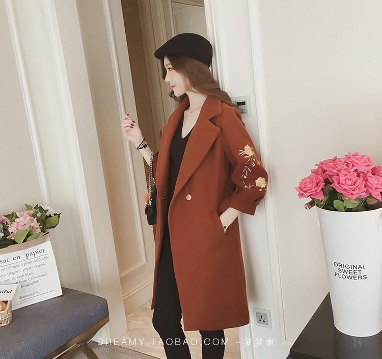 Lady Et Mélange Long Lanterne Mode Manteaux caramel Féminin Hiver Laine Office Manches Floral Broderie rose Beige Veste kaki Manteau HgwAv