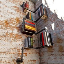 Wall Shelves Floating Shelf Bookshelf Wall Bookrack Wall-Mounted Bookcase Industrial Style Commodity Shelf Iron Pipes