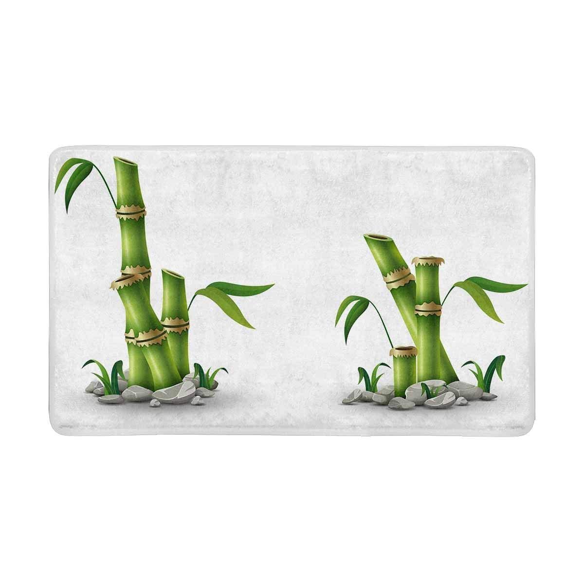 Green Bamboo Stems with Leaves Indoor Doormat Non Slip Front Entrance Door Mat Rug