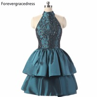 Forevergracedress Original Pictures Short Prom Dress Hot Sale Fashion Beaded Taffeta Homecoming Party Gown For Girls Plus Size