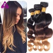 RUIJIA 1B/4/27 Ombre Hair Brazilian Virgin Hair Body Wave 4pcs lot Three Tone Blonde Human Hair 4 Bundles Ombre Hair Extensions