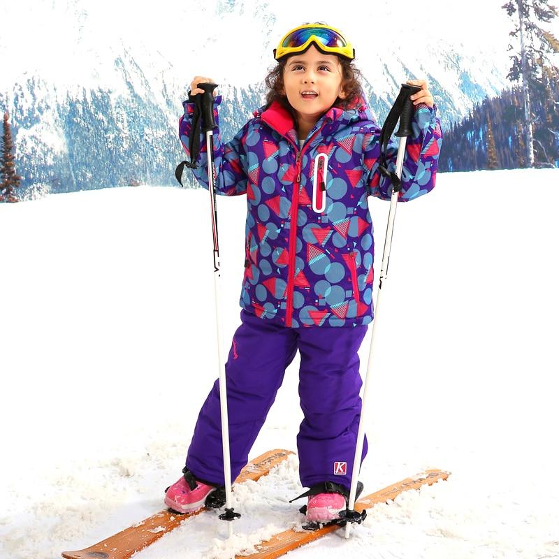 Prix pour Haute Qualité Filles Combinaison de Ski Veste de Ski + Pantalon de Ski Coupe-Vent Imperméable Snowboard Set Vêtements D'hiver Manteau et Pantalon pour enfants