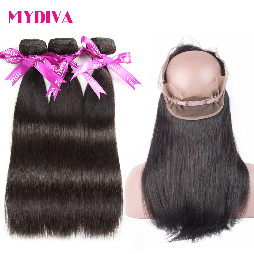 Mydiva 360 Lace Frontal Closure with Bundles Brazilian Straight Human Hair 360 Frontal with Baby Hair