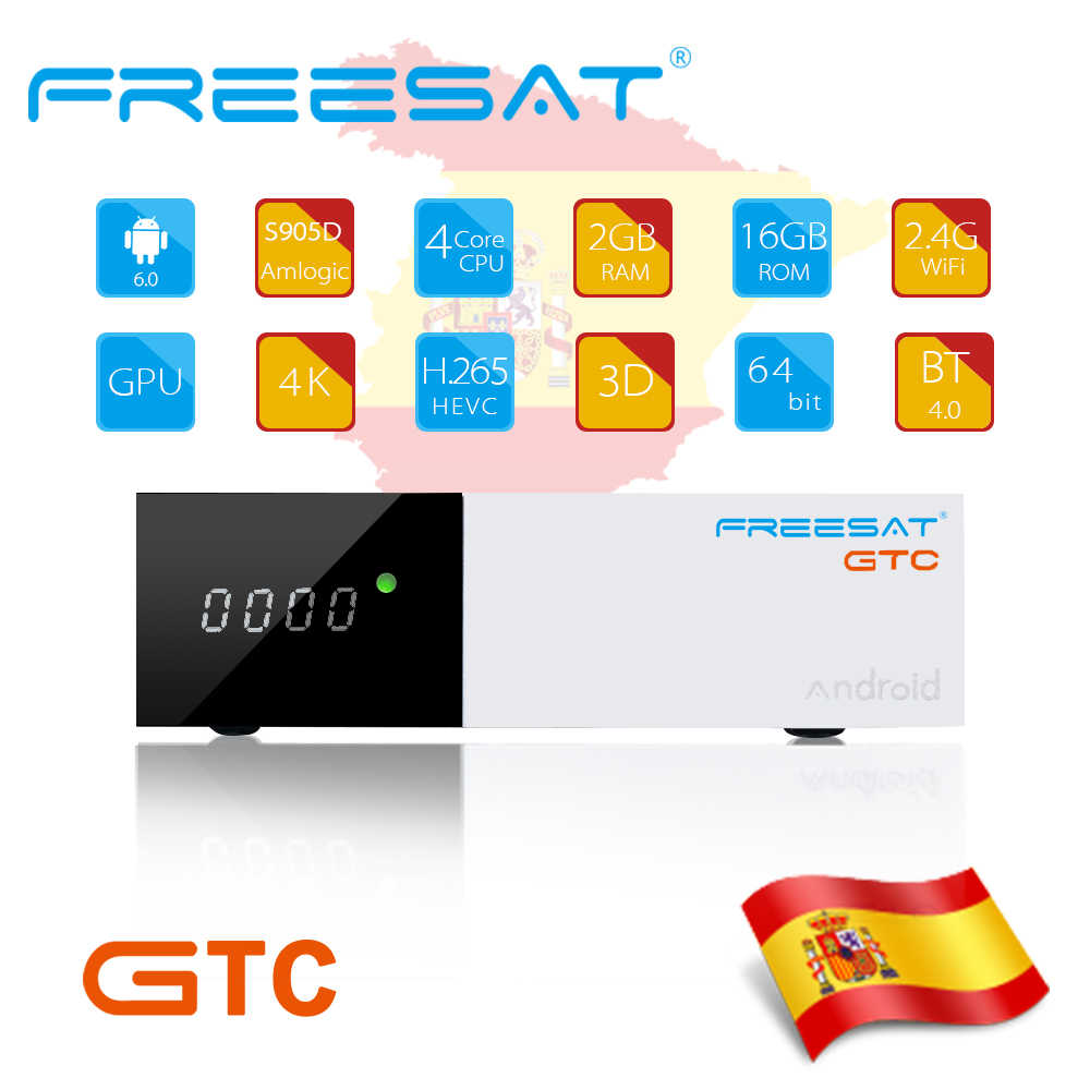 Gt медиа freesat GTC Android 6,0 ТВ коробка DVB-S2/T2/кабель/ISDBT Amlogic S905D 2/16 GB RAM ROM freesat + bluetooth клавиатура air mouse