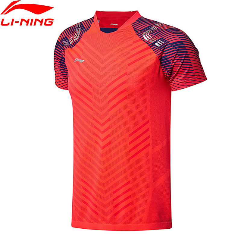 Li-Ning 2018 Men Badminton T-Shirts AT DRY Competition Top Fitness Tee Comfort Breathable T-shirt AAYN001