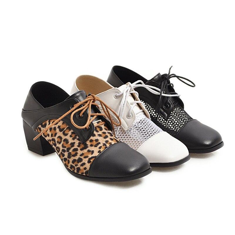 scarpe Asumer 34 Prom Big Nuove bianco alti Pompe Moda Donna Classico Stampa 43 Lace Size Primavera tacchi donna leopardo quadrata per Punta Up Nero TAr0xwqAE