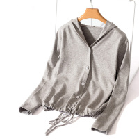 Thin Long Sleeve Hooded Women Cardigan Autumn Button Coat Girls Large Size Harajuku Lace Up Knitwear Korean Loose Grey Sweater