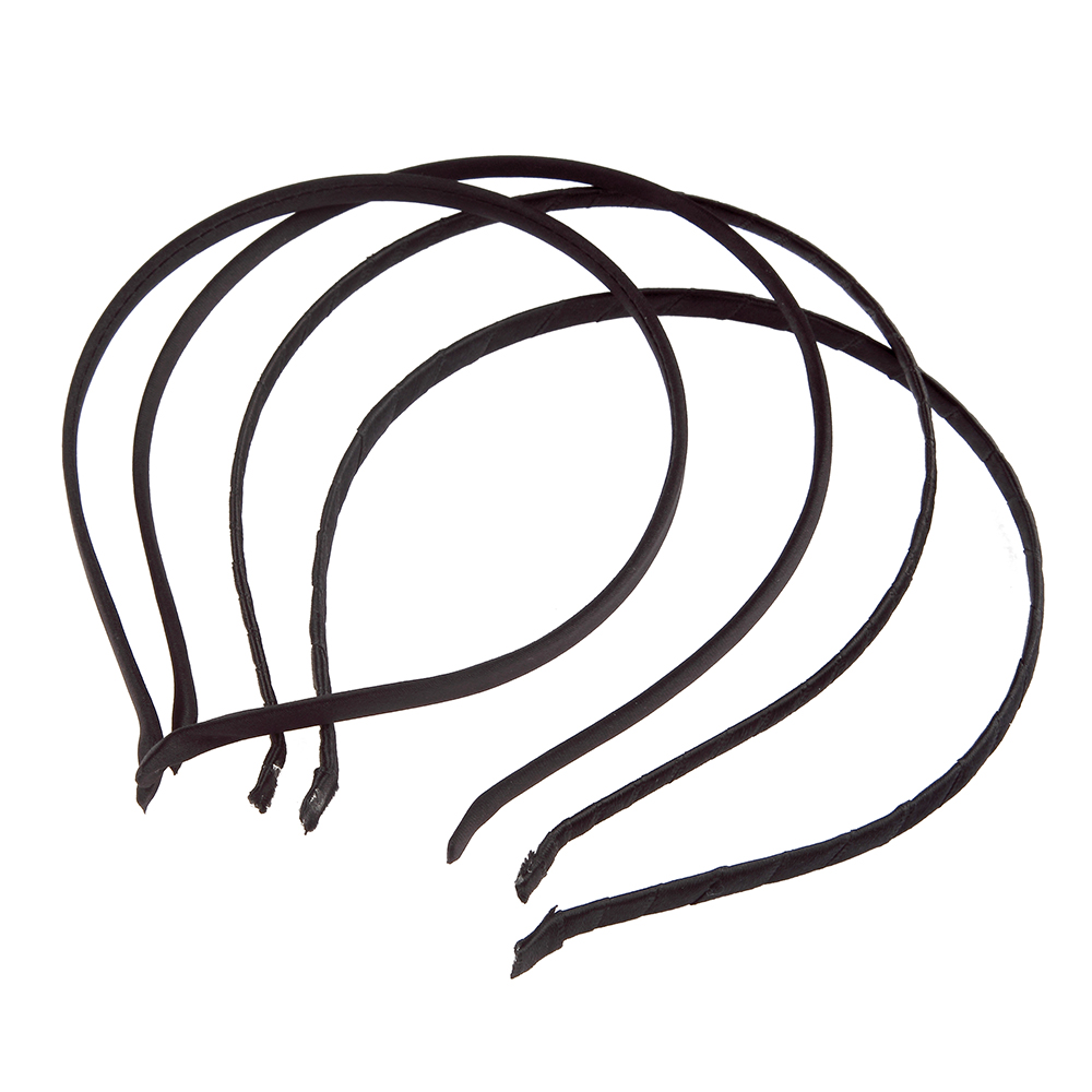 Girls Hair Clasp For Women Blacke Satin Covered Hairbands Lint Covered HeadBand 7mm 5mm Head Hoop Hair Accessory 10pcs/lot