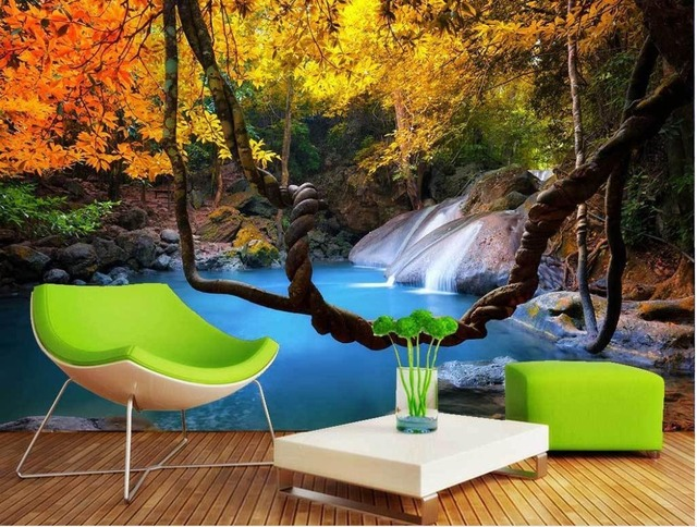 Custom wallpaper Forest waterfalls natural scenery television