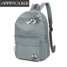 Annmouler Новый Дизайн Для женщин Рюкзаки большой Ёмкость сумка для ноутбука одноцветное Цвет холст рюкзак знак Обувь для девочек студент Школьные сумки