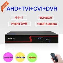 Красная передняя панель,  1080P, 960Р,720P, 960Н камеры CCTV, XMeye приложение облачного сервиса, 4 в 1  4-канальный/8-канальный гибридный коаксиальный AHD TVI CVI DVR видеорегистратор. Бесплатная доставка