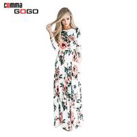 BOHO Beach Dress Casual O Neck Full Sleeve Floral Print Dresses Women Long Maxi Dress Plus
