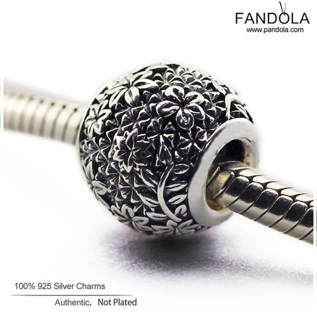 Se adapta a pandora charms pulsera 100% plata esterlina 925 jardín de flores de perlas mujeres de los encantos diy joyería que hace fl368 epcot