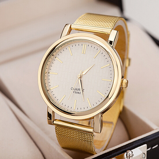 New fashion gold band watches women relogio de ouro full stainless steel ladies