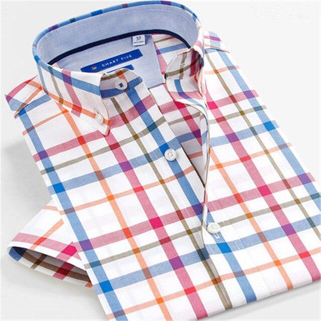 99565d3c9751 SmartFive 2017 Oxford Slim Fit Men Shirt Cotton Short Sleeve Summer Camisa  Social Masculina Casual Business Clothing SFS5P325