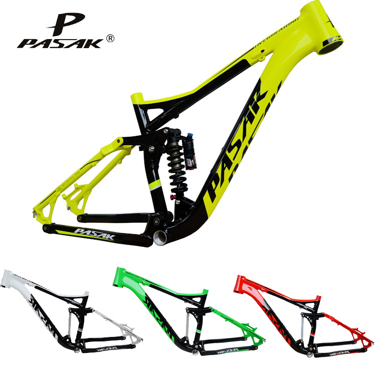 Pasak Full Suspension Aluminium frame Alloy MTB Mountain DH AM Cycling Bicycle Frame 26/27.5er*17inch Downhill Bicycle Part