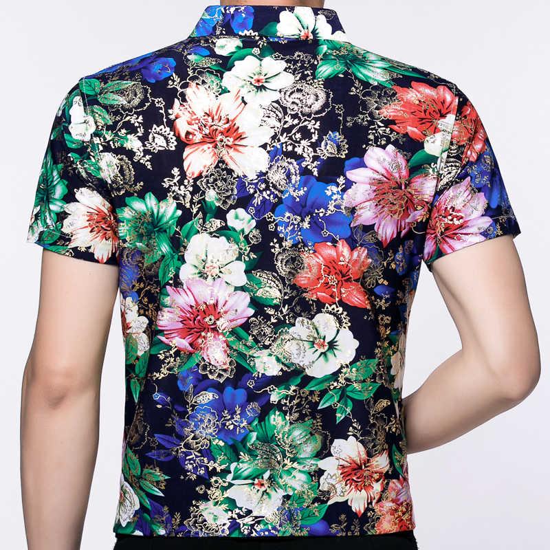2019 Летняя мужская гавайская рубашка с коротким рукавом, Гавайское платье с цветочным принтом, повседневные зауженные официальные рубашки, Роскошные Рубашки, мужская мода 6009