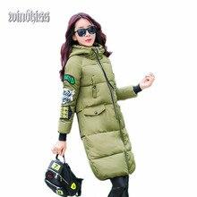 2016 мода женщины нью-зима корейский знаки патч тонкий хлопка-ватник пуховик с капюшоном 20% с