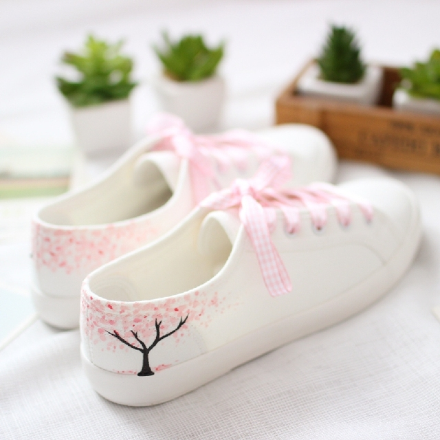 2016 New arrival fashion women canvas low cute print  women shoes hand-painted Casual shoes