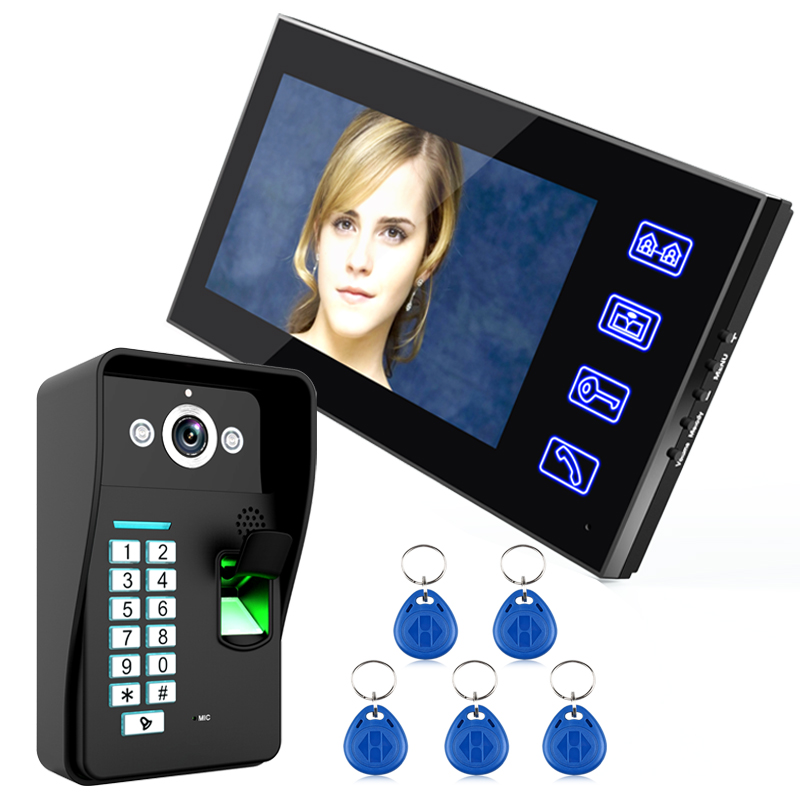 Touch Key 7 Lcd Fingerprint Recognition Video Door Phone Intercom System IR Camera HD 1000 TV Line 5pcs RFID Proximity ID Card iris recognition system