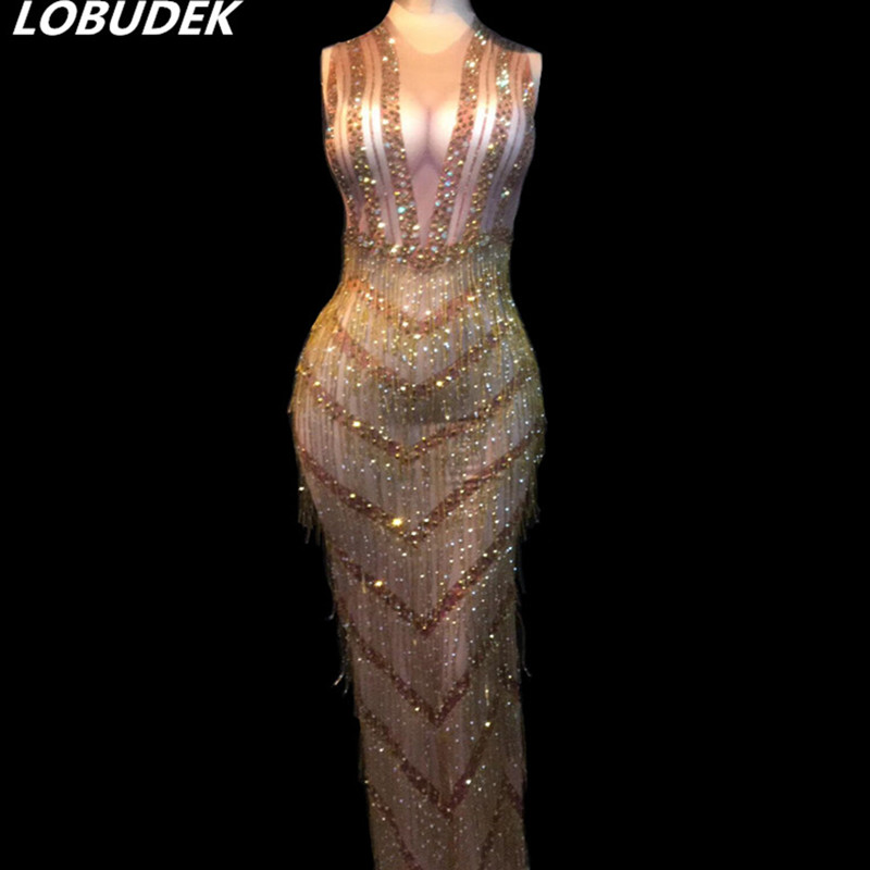 Glands Tenue Costume Vêtements Gold Parti Super Strass Femmes Discothèque Scène Cristaux Brillant Bar Or Performance Longue De Robe Danse UpSzVMjLqG