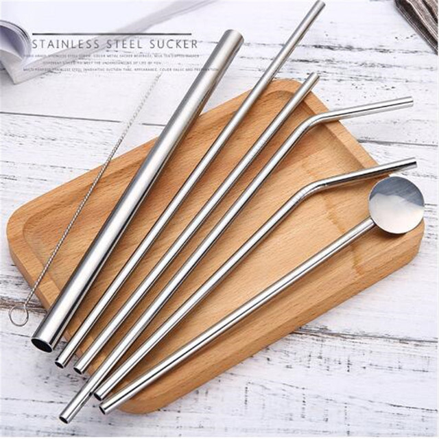 Reusable Eco Friendly Stainless Steel Drinking Straw with Cleaner Brush 8 PCS/Set